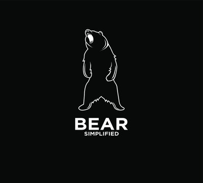 Bear standing and roar outline logo icon design with black background