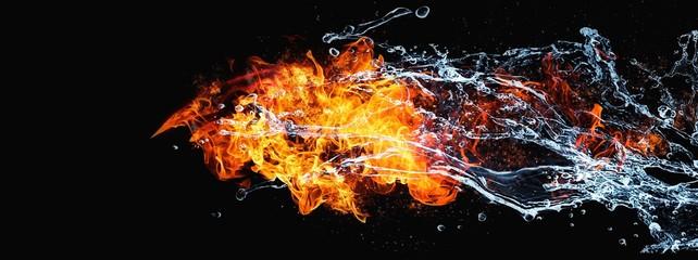 絡み合う抽象的な炎と水 Wall mural