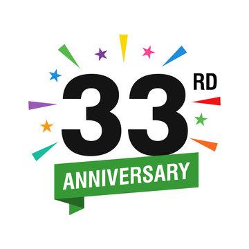 33rd Years Anniversary Logo Design Vector