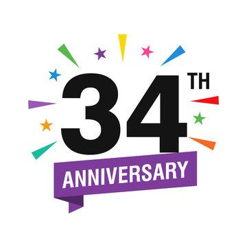 34th Years Anniversary Logo Design Vector