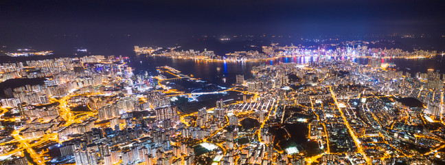 Fotomurales - panorama epic view of Hong Kong Night, from Kowloon to Hong Kong Island. metropolis in Asia