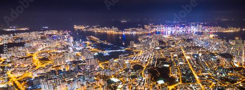 Wall mural panorama epic view of Hong Kong Night, from Kowloon to Hong Kong Island. metropolis in Asia