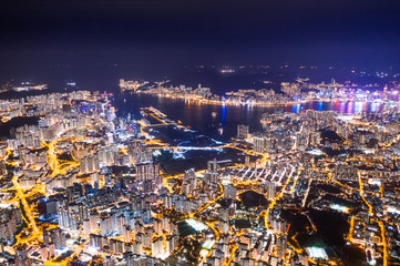 Wall Mural - epic view of Hong Kong Night, from Kowloon to Hong Kong Island. metropolis in Asia