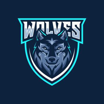 Wild wolf esport mascot logo design vector illustration