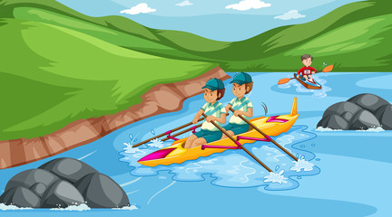 Door stickers Background scene with athletes canoeing in the stream
