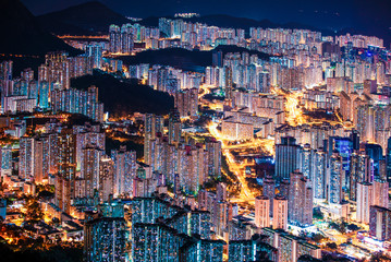 Fototapete - Amazing Hong Kong Night View, Kowloon district, shooting from lion rock peak. Asia