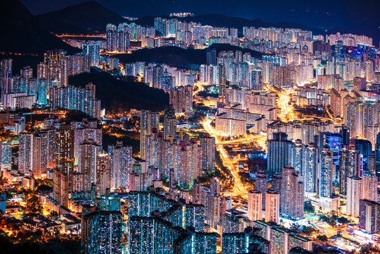 Amazing Hong Kong Night View, Kowloon district, shooting from lion rock peak. Asia