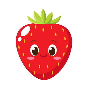 Cute happy strawberry character emoticon