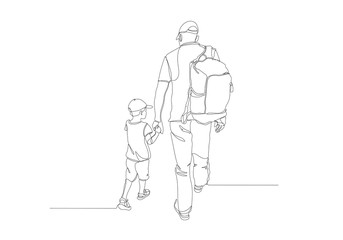 Black line drawing of father and his daughter walking , Line art minimalist design
