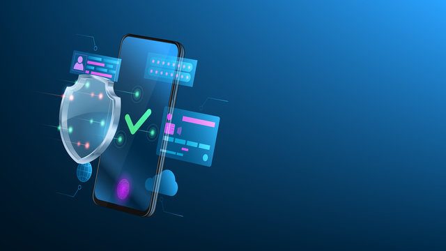 Smartphone protection concept. Concept of mobile payments, personal data protection, cloud security. 3d side view on cell phone with glass shield. Digital technology template. Vector illustration.
