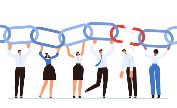 A team of businessmen holds the chain as a symbol of successful teamwork. The man broke the chain link and let his team down. The concept of failures and losers