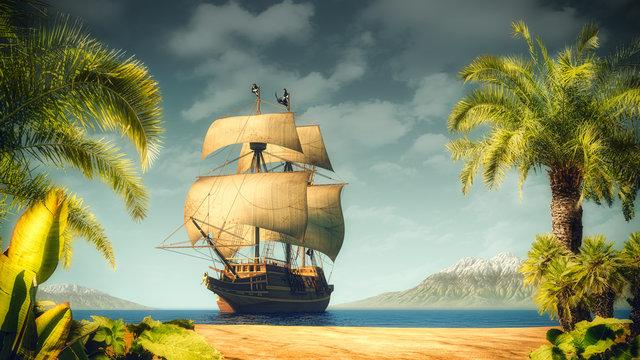 Pirates ship on the sea