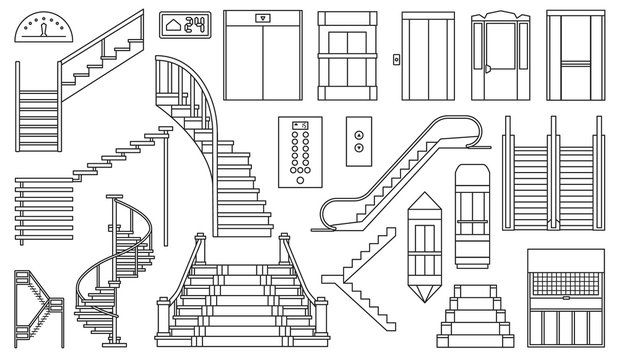Staircase and lift vector outline set icon.Vector illustration stair and escalator.Isolated outline icon wooden of metal staircase on white background.