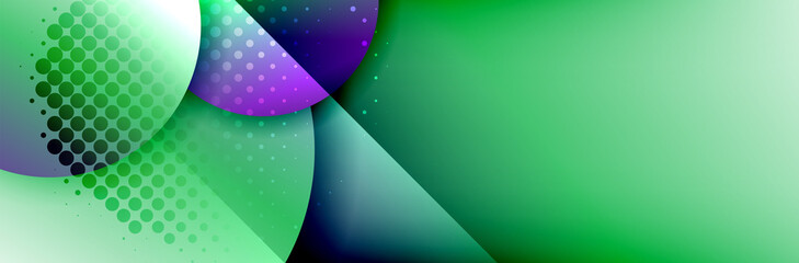 Dynamic trendy geometrical abstract background. Circles, round shapes 3d shadow effects and fluid gradients. Modern overlapping round forms Fotomurales