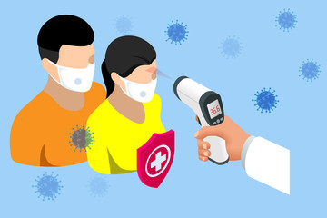 A doctor measures the temperature of a woman in a medical mask. Novel Wuhan coronavirus 2019-nCoV epidemic outbreak. Medical Digital Non-Contact Infrared Thermometer, covid-19 checkpoint Wall mural