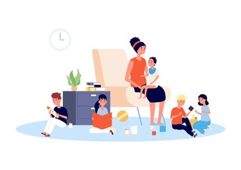 Nanny with children. Babysitter, infant baby and playing kids. Large family or motherhood, mother with toddler. Home kindergarten vector illustration. Infant kid, baby and mother, babysitter care kids