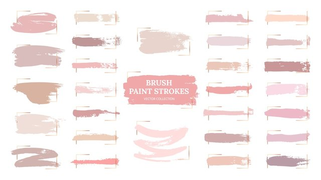 Pastel brush strokes. Creative spots, gold frames and pink palette samples. Fashion makeup blush swatches. Beautiful rose grunge paint vector collection. Illustration pastel texture, watercolor brush