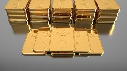 Fototapete - 10 Oz Goldbarren gestapelt auf dem Tisch