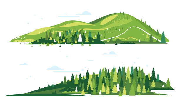 Two compositions include green mountains with spruce forest around on flat style, nature tourism landscape illustration isolated, sample creative mountain compositions