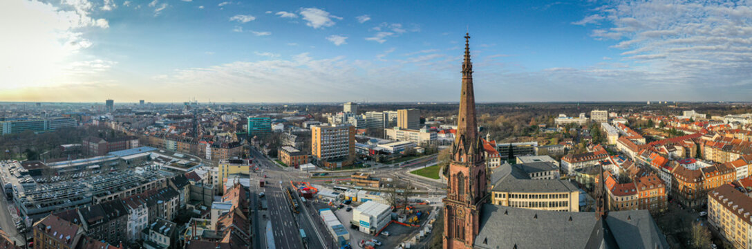 Panorama Luftbildaufnahme am 08.02.2020 in Karlsruhe, Durlacher Tor, Germany