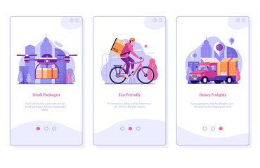 Online Shopping Mobile App Onboarding Screens in Flat