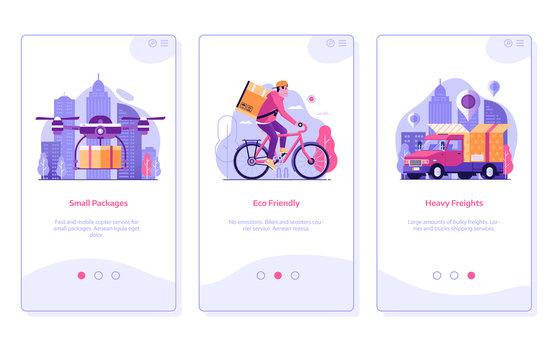 Online Shopping Mobile App Onboarding Screens in Flat