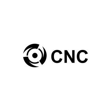 CNC logo vector with drill bit logo design