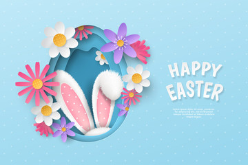 Vector cute festive horizontal banner with layered cut out paper egg, realistic 3D fur ears of bunny and flowers on blue background. Holiday childish template with text Happy Easter for greeting card.
