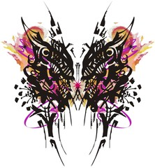 Fotorolgordijn Vlinders in Grunge Grunge butterfly wings colorful splashes. Unusual ethnic butterfly amid purple-orange bursts with artistic line on white background for your design