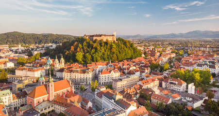 Aerial panoramic view of Ljubljana, capital of Slovenia in warm afternoon sun. Fototapete
