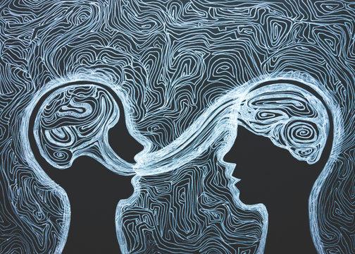 Disegno grafico voce, linguaggio, parlare. Comunicazione. Dialogo tra due persone.