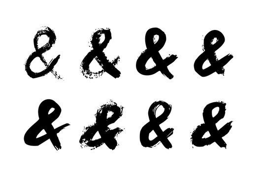 Ampersand letter mark of ink brushstrokes. Vector grunge punctuation mark