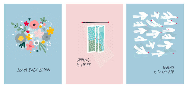 Open window spring bird illustration postcard set
