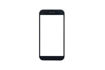 Black border large screen blank mobile phone isolated on white background