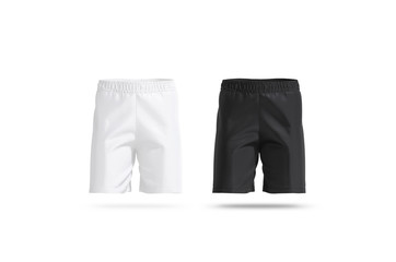 Blank black and white soccer shorts mockup set, front view