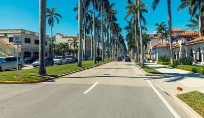 Poster Palmier PALM BEACH, FL - JAUNARY 8, 2016: City streets on a beautiful day. Palm Beach is a major Florida destination for tourists