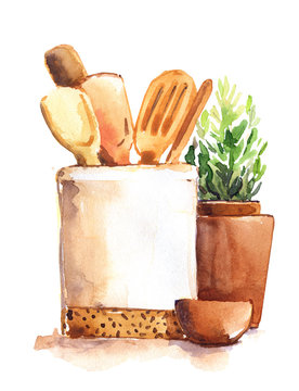 Kitchenware wooden spoons pots spices cooking environmentally friendly no waste isolated watercolor