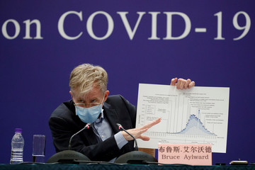 Bruce Aylward of the World Health Organisation (WHO) attends a news conference of the WHO-China Joint Mission on Covid-19 about its investigation of the coronavirus outbreak in Beijing