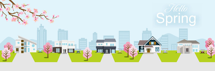 Deurstickers Lichtblauw Residential area in spring nature, banner ratio - included words