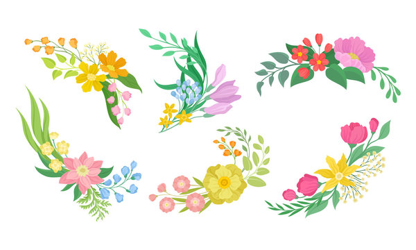 floral arrangement with twigs and flowers for corner decoration vector set buy this stock vector and explore similar vectors at adobe stock adobe stock adobe stock