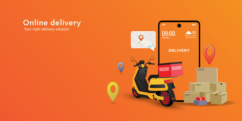 Online delivery service illustration concept, perfect for landing page, delivery website, banner, background, application, poster,  on mobile and etc.