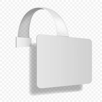 Rectangular shelf wobbler on transparent background, vector mockup. White blank rectangle dangler, template