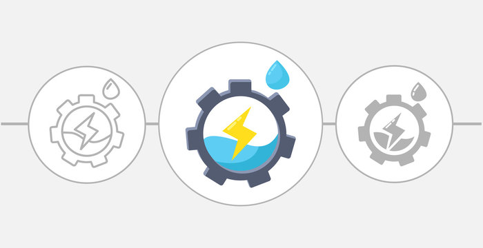 Gear wheel with water as logo. hydroelectric power flat icon