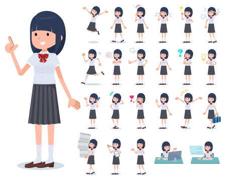 flat type school girl White shirt summer_emotion