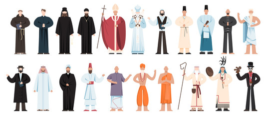 Set of religion people wearing specific uniform. religious figure Fotomurales