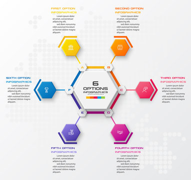 Abstract business infographics template with 6 hexagon in white color background