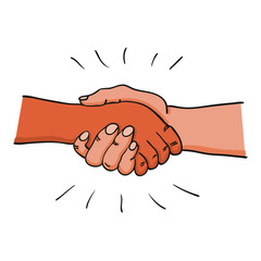 Two adult hands performing a handshake after agreement, contract or before meeting, greeting - for politics, finance, business, economy