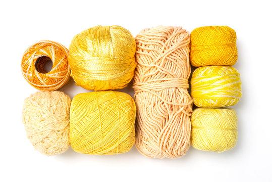 Gelbe Woll und Garn Sammlung