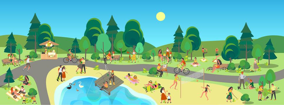 City park landscape. People enjoying being outside, doing sport