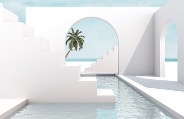 Scene with geometrical forms, arch with a podium in natural day light. minimal landscape background. sea view. Summer scene. 3D render background. Fotomurales
